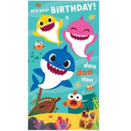 Baby Shark verjaardagskaart + stickers