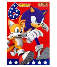Sonic verjaardagskaart 6 jaar