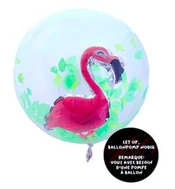 Flamingo ballon doorzichtig 35cm