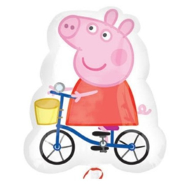 Peppa Pig op fiets folie ballon  48x58cm