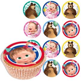Masha en de beer eetbare cupcake opdruk 12 stuks