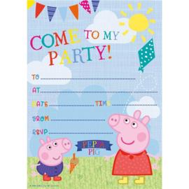 Peppa Pig uitnodigingen verjaardag 20 stuks