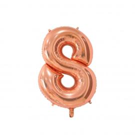 Cijfer acht rosegoud folie ballon 66cm