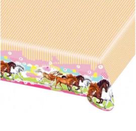 Paarden tafelkleed plastic 120x180cm
