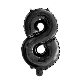 Folie ballon cijfer acht zwart 45cm
