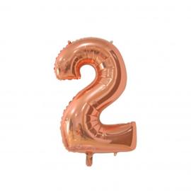 Cijfer twee rosegoud folie ballon 66cm