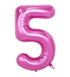 Folieballon vijf roze 1m