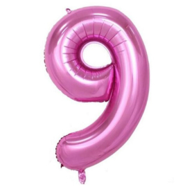 Folie ballon negen roze 1m
