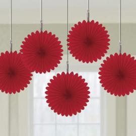 Hangdecoratie waaiers rood 5 stuks