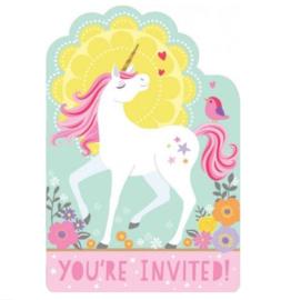 Unicorn uitnodigingen 8 stuks met enveloppen