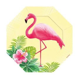 Flamingo bordjes 6 stuks 18cm