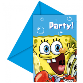 Spongebob uitnodigingen 6 stuks