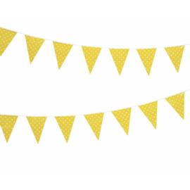 Vlaggenlijn geel met witte stippen 3,6m