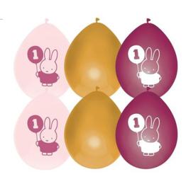 Nijntje 1 jaar roze ballonnen 6 stuks