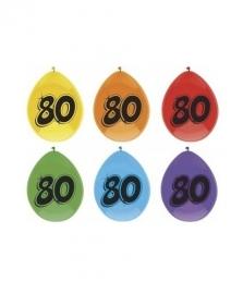 Ballonnen 80 jaar 6 stuks