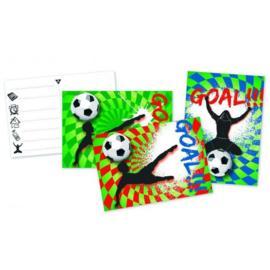 Voetbal uitnodigingen 6 stuks