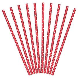 Rietjes rood papier 10 stuks 20cm