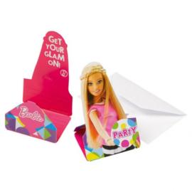 Barbie uitnodigingen 8 stuks