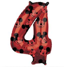 Mickey Mouse cijfer 4 folie ballon 66cm.