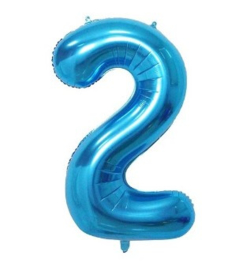 Folieballon twee blauw 1m