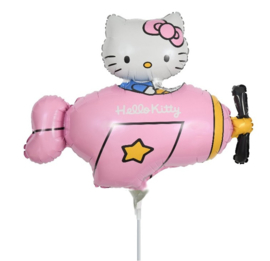 Hello Kitty folie ballon vliegtuig op stok 35cm