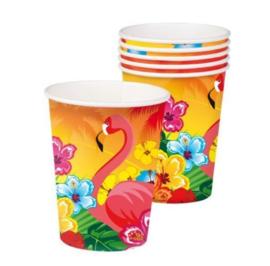 Flamingo bekers 6 stuks