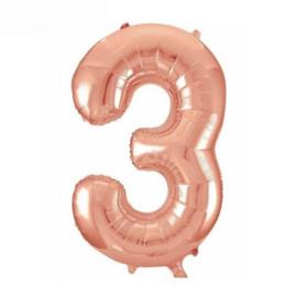 Folie ballon drie rosé goud 45cm