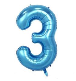 Folieballon drie blauw 1m