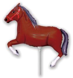 Paard folie ballon bruin op stok 25cm