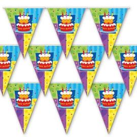 Verjaardag slinger vlaggenlijn plastic