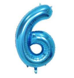 Folieballon zes blauw 1m