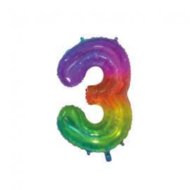 Regenboog drie folie ballon 76cm