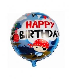 "Folie ballon piraat met tekst: ""Happy Birthday"""