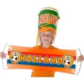 Oranje banner met leeuw 80 cm lang