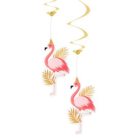 Flamingo hangdecoratie 2 stuks 85cm