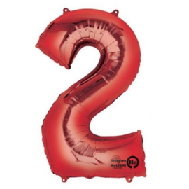 Twee jaar folie ballon rood 88x50cm