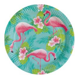 Flamingo borden 8 stuks 23cm