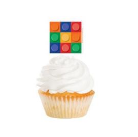 Bouwsteen toppers cupcakes 12 stuks