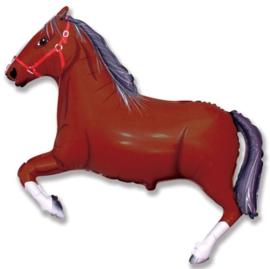 Paard donkerbruin folie ballon 75x107cm
