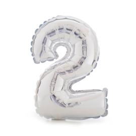 Folie ballon twee zilver 1m