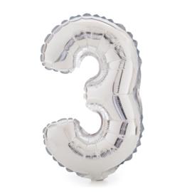 Folie ballon drie zilver 1m