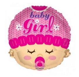 Baby girl gezicht folie ballon 45cm