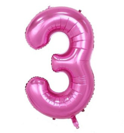 Folieballon drie roze 1m