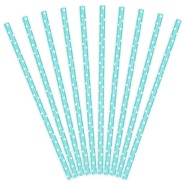 Rietjes lichtblauw karton 10 stuks