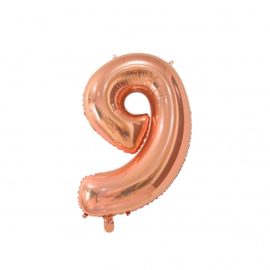 Cijfer negen rosegoud folie ballon 66cm