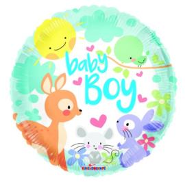 Baby boy met dieren folie ballon 45cm