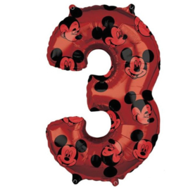 Mickey Mouse cijfer 3 folie ballon 66cm