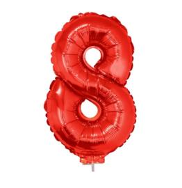 Folie ballon rood acht op stok 45cm
