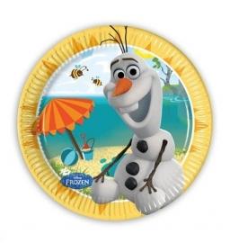 Frozen Olaf op strand borden 8 stuks