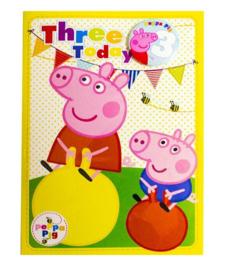 Peppa Pig verjaardagskaart 3 jaar